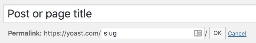 Example of editing a URL slug