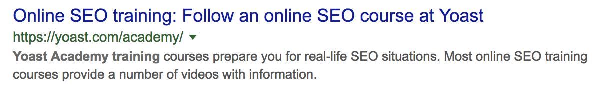 SEO title in search results desktop