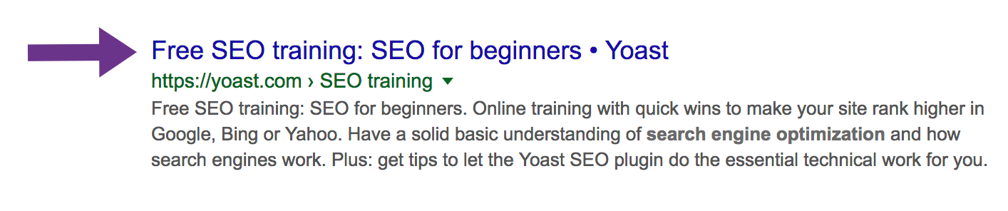 SEO title in search results