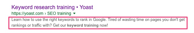 keyword research training meta description