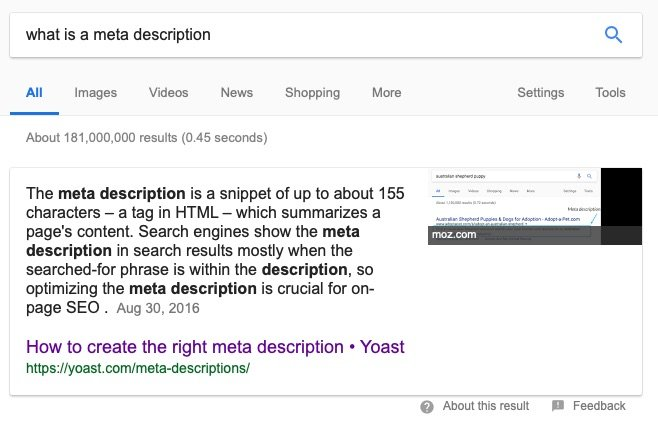 meta description featured snippet new