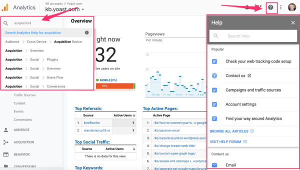 search and help functionality in Google Analytics