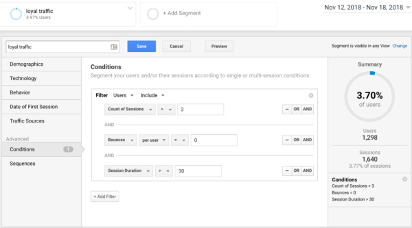 Building a loyal traffic segment in Google Analytics