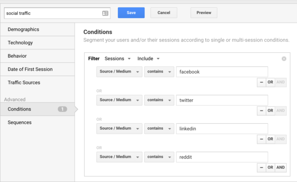 Building a social traffic segment in Google Analytics
