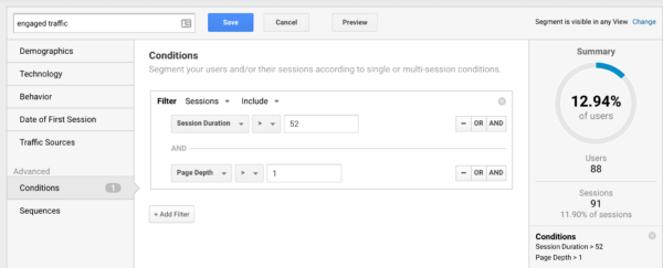 Building an engagement traffic segment in Google Analytics