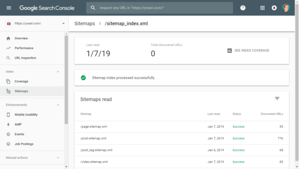 XML Sitemap management in Google Search Console