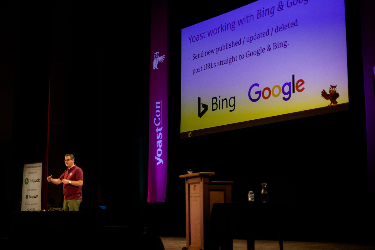 Joost annnouncing live indexing coming to Yoast SEO at YoastCon