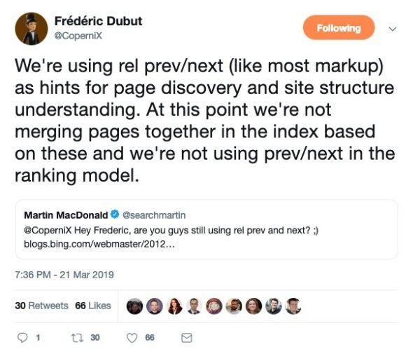 Tweet by Frédéric Dubut on rel prev next