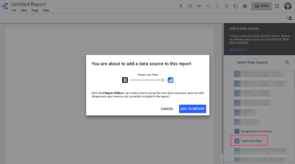 Add data source to report in Google Data Studio