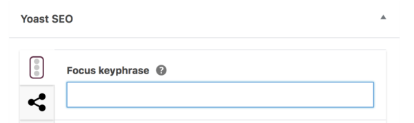 The focus keyword input field in Yoast SEO