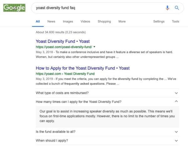 yoast diversity fund faq google