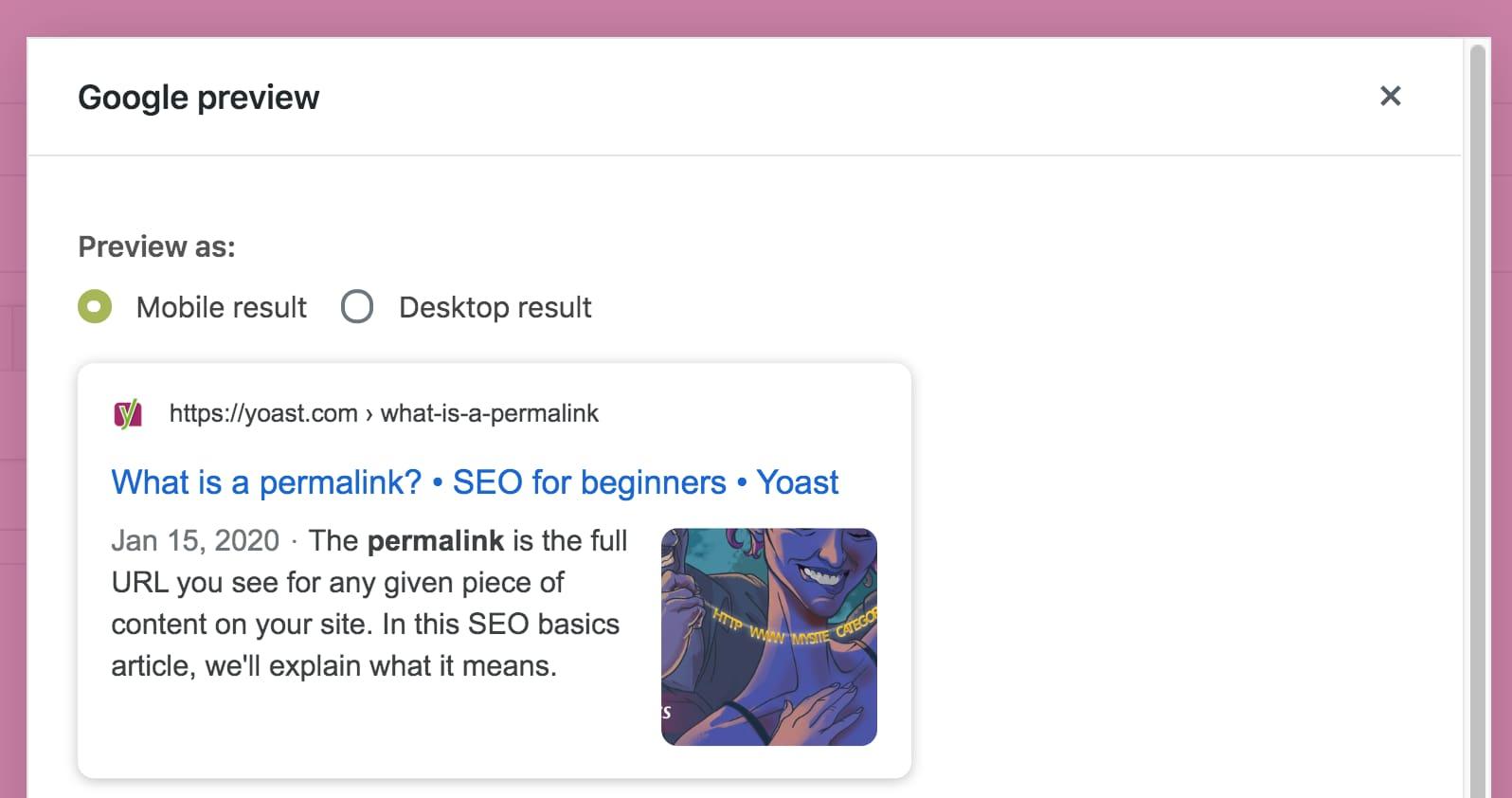Modal Google Preview sidebar