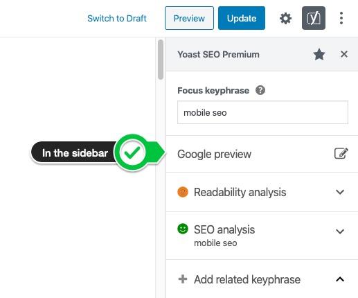 google preview button block editor sidebar