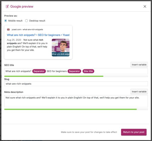 popup screen of google preview from the yoast seo sidebar