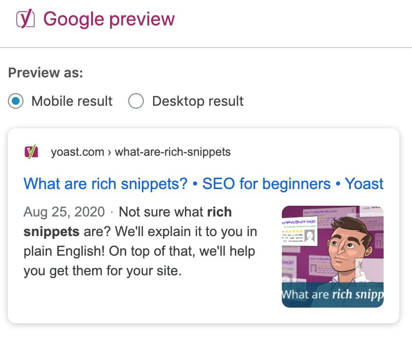 google preview with the title of your post