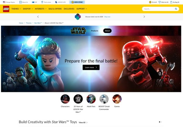 an example of a Star Wars theme-based category page on the lego website