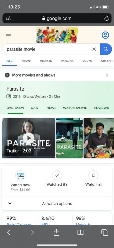 parasite movie rich result mobile