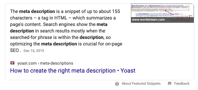 what is a meta description featured snippet