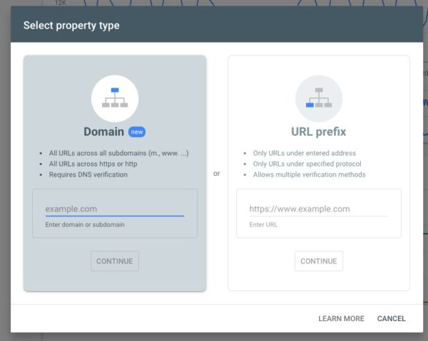 select property type search console
