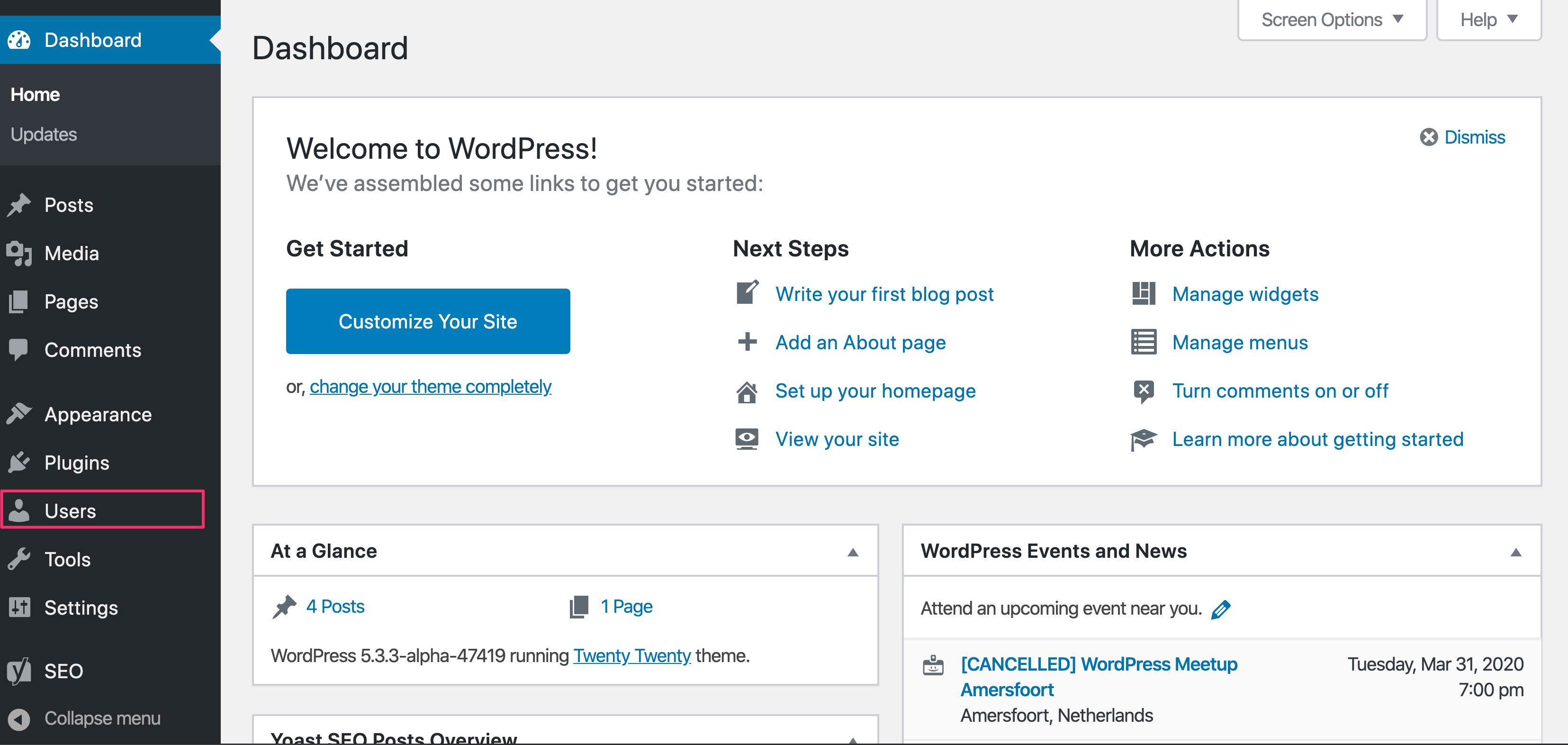 The users admin menu in WordPress
