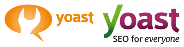 Image of the old Yoast logo and the current Yoast logo.