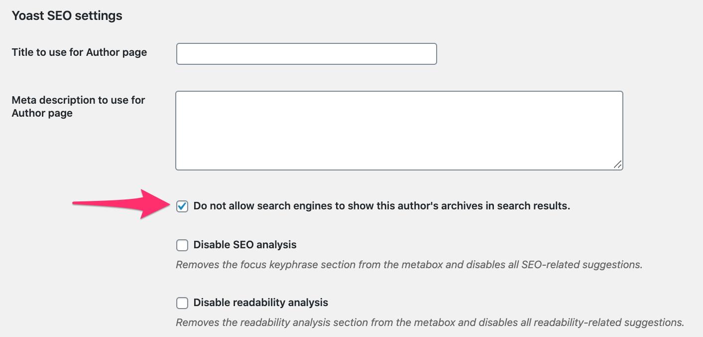 noindex author pages