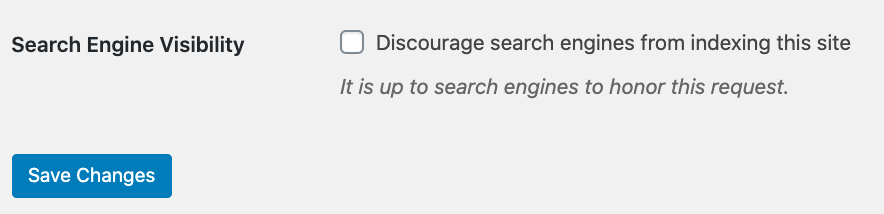 discourage search engines check box