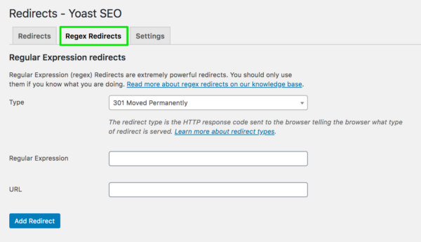 Screenshot showing Regex Redirects tab in Yoast SEO redirect manager