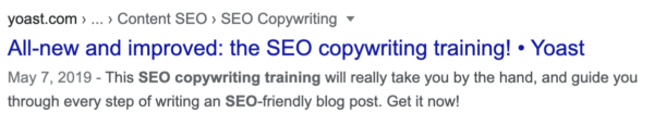 meta description of the SEO copywriting training page on yoast.com