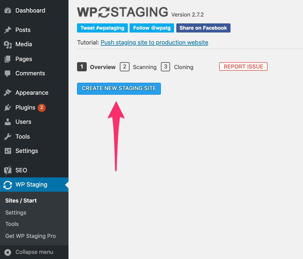 WP Staging - Create new staging site