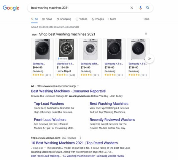 Example of commercial investigation intent: screenshot of Google's results for search term best washing machines 2021