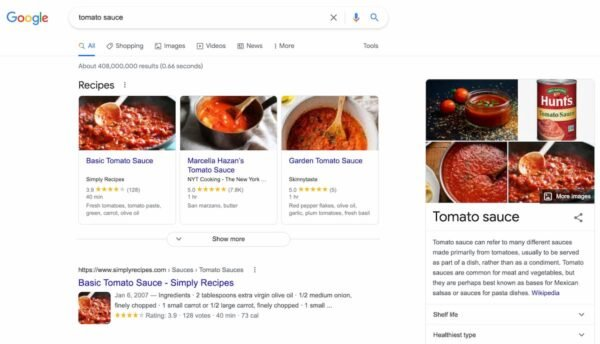 Example of informational search intent: screenshot of Google's results for search term tomato sauce