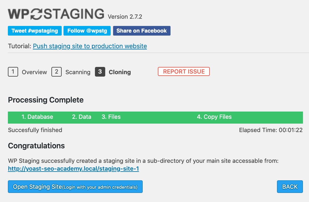Open staging site using staging plugin