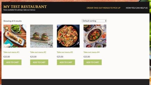 Un menu de restaurants affiché dans leur boutique en ligne