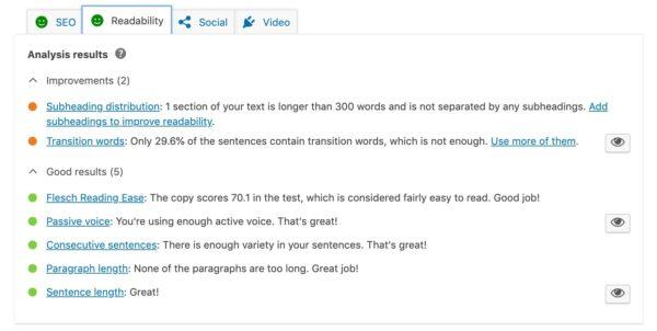 readability analysis yoast seo