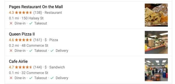 Affichage de Google des restaurants locaux
