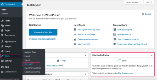 site health in wp