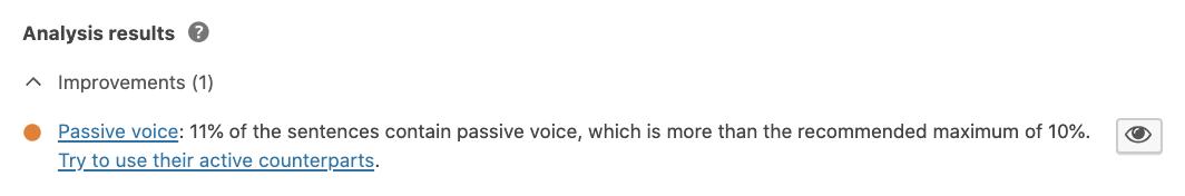 Yoast SEO passive voice assessment