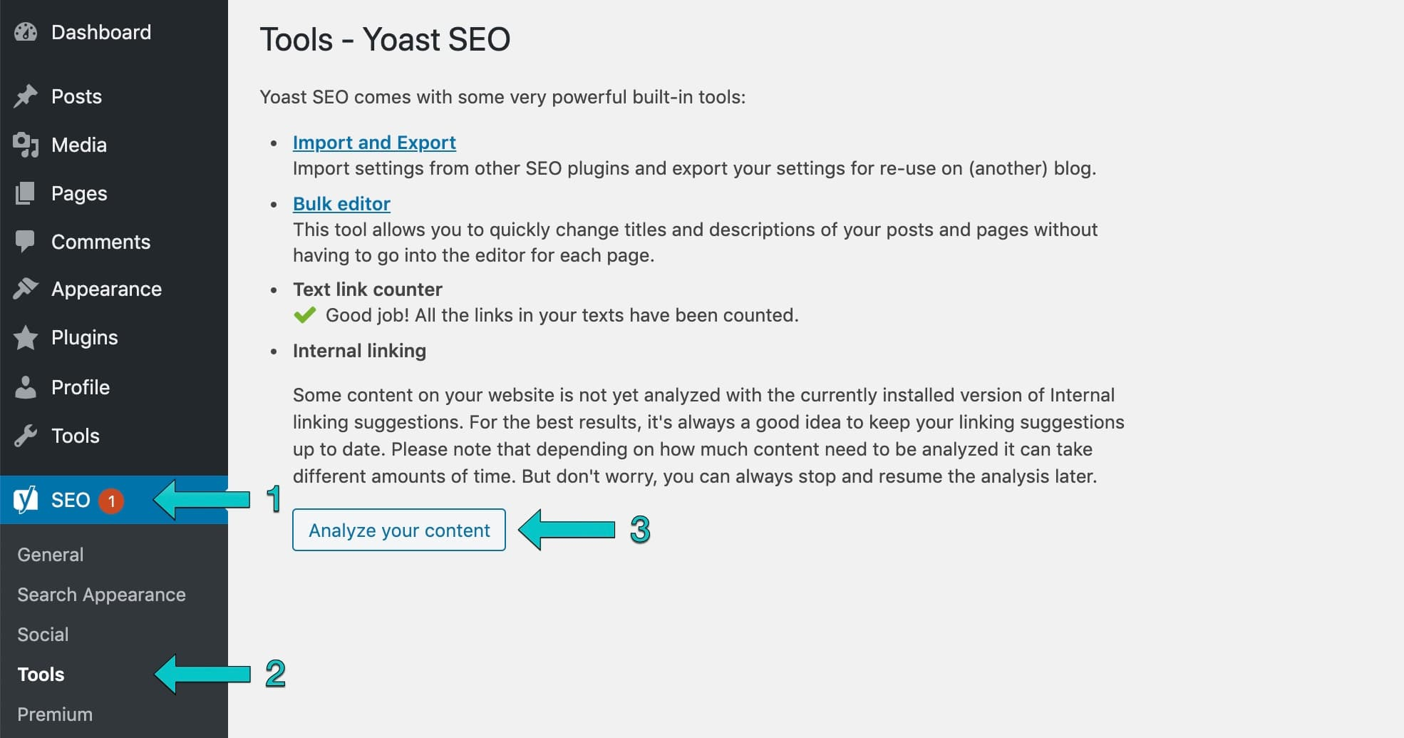 activate the internal linking tool by analyzing your content