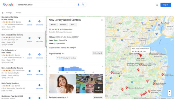 dentist new jersey google