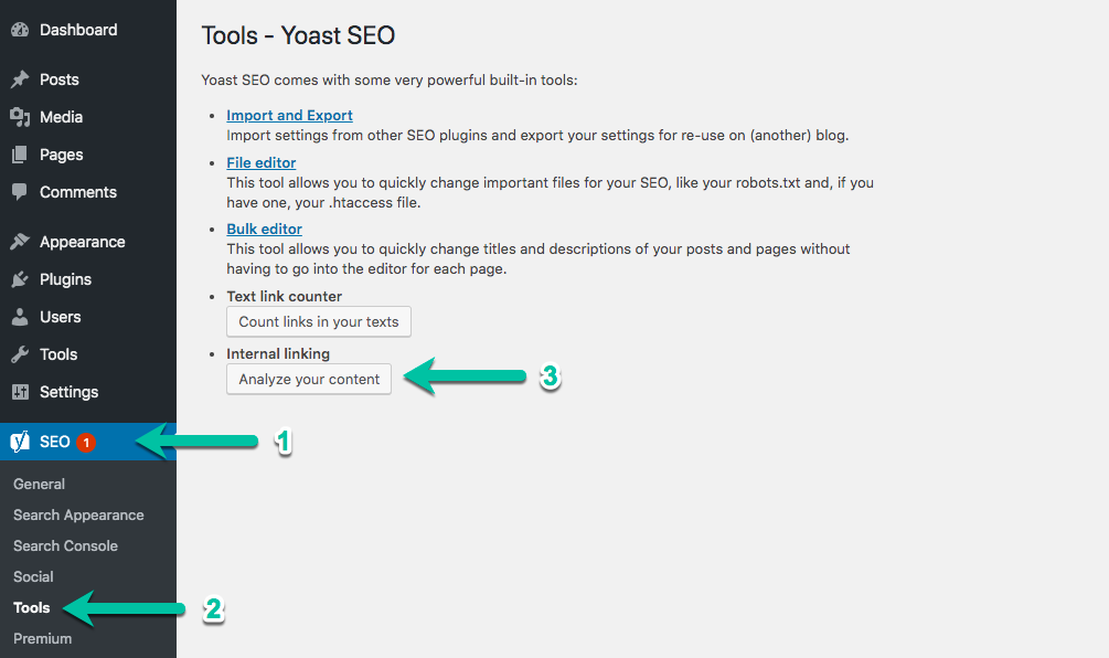 Internal linking tool in WordPress