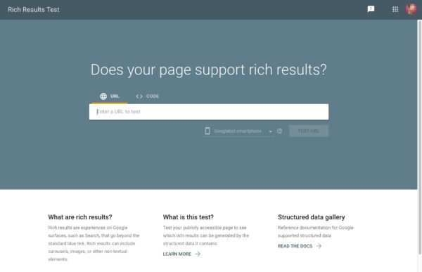 rich results test google homepage