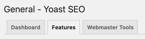 Features tab of the Yoast SEO General settings