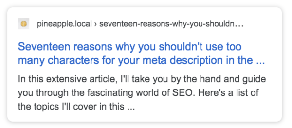 Screenshot showing snippet with cut off SEO title and meta description
