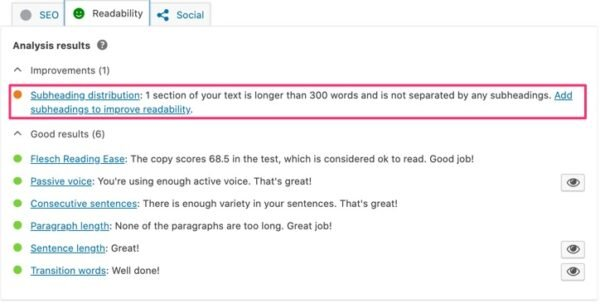 A screenshot of the Readability tab in Yoast SEO with a highlight on the Subheading distribution check.