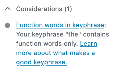The function words check in Yoast SEO
