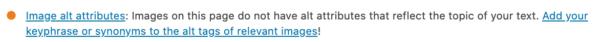 Image alt attributes check in Yoast SEO