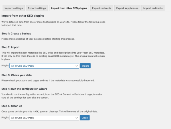A screenshot of the Import from other SEO plugins tab in the Tool settings of Yoast SEO.