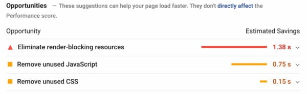 javascript opportunities pagespeed insights
