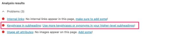 A screenshot of the SEO tab in Yoast SEO with a highlight on the Keyphrase in subheading check.
